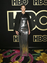 Jenna Elfman went for high shine in a silver sequined gown by Galvan at the HBO post-Emmy reception.