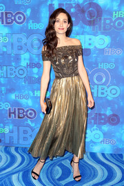 Emmy Rossum dazzled in an embellished gold off-the-shoulder dress by J. Mendel during HBO's post-Emmy reception.