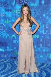 Laura Marano vamped it up in a cleavage-flaunting taupe gown by Julien Macdonald during HBO's post-Emmy reception.