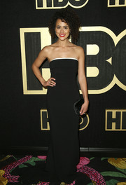 Nathalie Emmanuel was minimalist-chic in a strapless black column dress by Stella McCartney at the HBO post-Emmy reception.