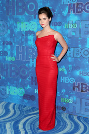 Vanessa Marano was pure elegance in a strapless red gown by Margi Kent, featuring an asymmetrical neckline and a figure-skimming silhouette, during HBO's post-Emmy reception.
