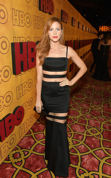 Brittany Snow turned heads in a figure-hugging illusion-panel gown by John Paul Ataker at the HBO post-Emmy reception.
