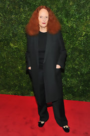 Grace Coddington wore fashionable black patent leather ballet flats with bows to attend HBO's In Vogue: The Editor's Eye Screening at the Met.