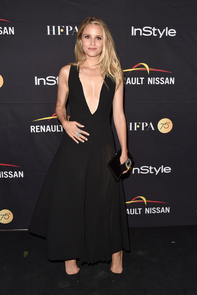 Dianna Agron kept it sexy yet elegant in a black Schiaparelli Couture gown with a navel-grazing neckline at the HFPA and InStyle TIFF celebration.