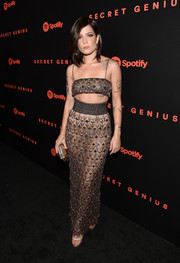 Halsey paraded plenty of skin in an embellished spaghetti-strap crop-top at the Spotify Secret Genius Awards.