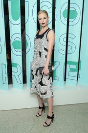 Kate Bosworth went modern in an appliqued, peekaboo-detailed midi dress at the Hugo Boss Prize event.