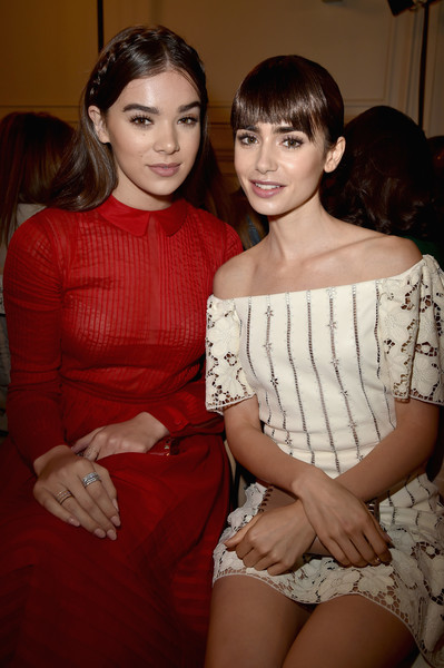 Hailee Steinfeld Stackable Rings [fashion,lady,shoulder,leg,event,dress,thigh,fashion design,valentino,lily collins,hailee steinfeld,front row,part,paris,france,paris fashion week womenswear spring,show]