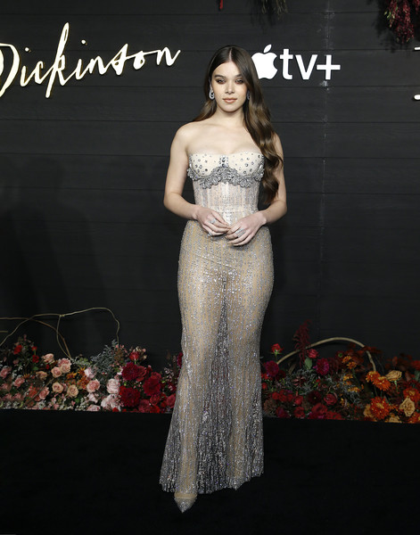 Hailee Steinfeld Sheer Dress [clothing,dress,gown,shoulder,fashion model,strapless dress,fashion,haute couture,formal wear,bridal party dress,dickinson,hailee steinfeld,new york,new york city,st. anns warehouse,premiere,new york premiere]