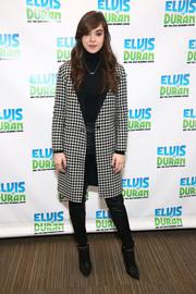 Hailee Steinfeld looked sharp in a houndstooth coat while visiting 'The Elvis Duran Z100 Morning Show.'