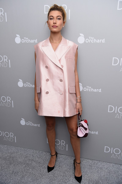 Hailey Bieber Vest [clothing,pink,fashion,fashion model,coat,trench coat,dress,fashion design,neck,fashion show,dress,dior,hailey baldwin,fashion,model,fashion model,coat,trench coat,new york city,ny premiere,hailey rhode bieber,dior and i,model,fashion,w,actor,celebrity,red carpet]