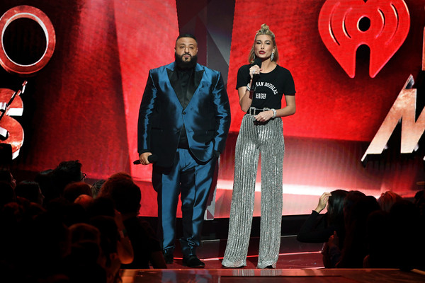 Hailey Bieber Wide Leg Pants [musical,performance,red,fashion,stage,event,performing arts,musical,talent show,heater,performance art,dj khaled,hailey baldwin,musician,supermodel,iheartradio music awards,fashion,performance,model,iheartradio music awards - show,hailey rhode bieber,dj khaled,2018 iheartradio music awards,iheartradio,fashion,the 2018 iheartradio music awards,model,supermodel,celebrity,musician]