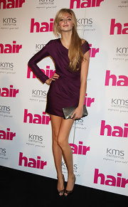 Tamsin Egerton opted for metallic pieces to match her purple dress including a pair of silver peep-toes.