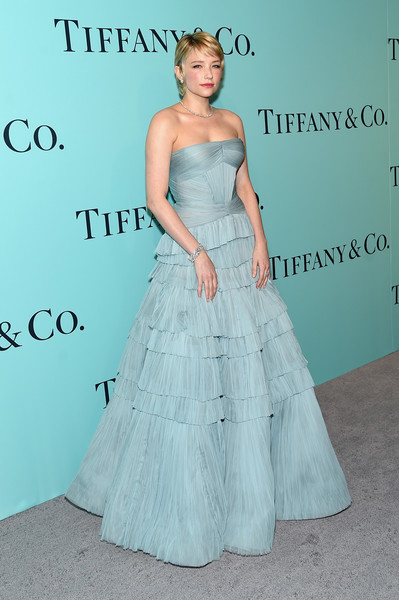 Haley Bennett Strapless Dress [red carpet,dress,clothing,shoulder,bridal party dress,gown,fashion,lady,haute couture,strapless dress,hairstyle,haley bennett,ann,warehouse,new york city,tiffany co.,blue book collection gala,blue book collection gala at st]