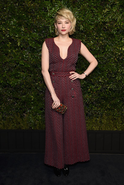Haley Bennett Jumpsuit [clothing,dress,pattern,lady,day dress,fashion,formal wear,design,gown,charles finch,haley bennett,chanel pre-oscar awards,dinner,beverly hills,california,madeo,madeo in beverly hills,chanel]