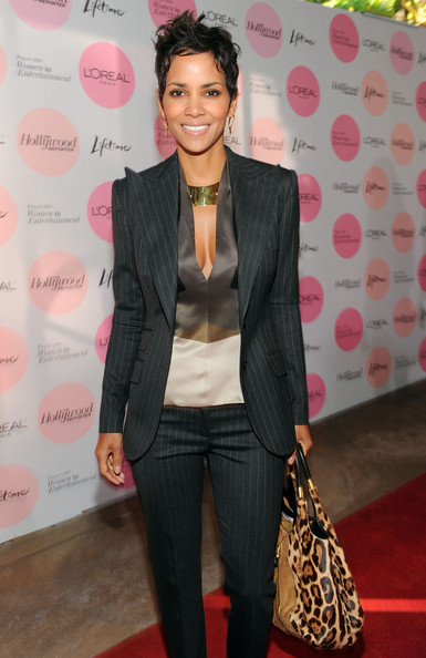 Halle Berry Pantsuit [power 100: women in entertainment breakfast,clothing,suit,outerwear,hairstyle,fashion,blazer,formal wear,pink,red carpet,black hair,halle berry,arrivals,the beverly hills hotel,beverly hills,california,hollywood reporter,the hollywood reporter]