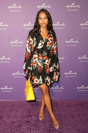 Karrueche Tran donned a slouchy tropical-print shirtdress for the launch of Hallmark's When You Care Enough to Put It Into Words.