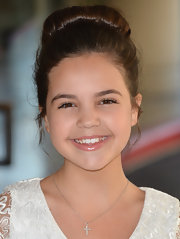 Bailee Madison had her hair tied in a bun at the Hallmark Channel event.