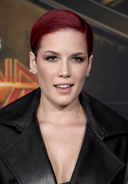 Halsey Boy Cut [captain marvel,hair,face,eyebrow,hairstyle,lip,beauty,skin,forehead,chin,fashion,premiere - arrivals,halsey,hollywood,california,marvel studios,premiere]