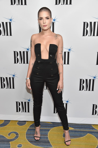 Halsey Jumpsuit [clothing,shoulder,hairstyle,fashion,carpet,premiere,joint,dress,footwear,electric blue,barry manilow,singer halsey,bmi pop awards,california,los angeles,broadcast music inc bmi honors,red carpet]