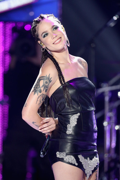 Halsey Flower Tattoo [clothing,lingerie,lady,beauty,fashion,agent provocateur,violet,purple,performance,model,california,los angeles,dick clarks new years rockin eve with ryan seacrest,halsey]