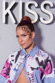 Halsey sported a classic bun with wavy tendrils while visiting KISS FM in London.
