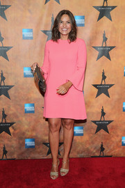 Mariska Hargitay donned a pink shift dress with bell sleeves for the 'Hamilton' Broadway opening party.