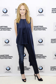 Holly Hunter was casual-chic in a sleeveless navy blouse with a side mullet at the Hamptons International Film Festival.
