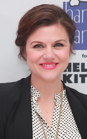 Tiffani Thiessen wore her hair in a red carpet-worthy chignon at the Hanky Panky for Hello Kitty launch.