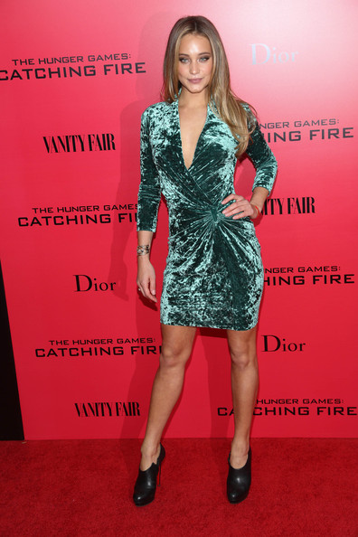 Hannah Jeter Wrap Dress [the hunger games: catching fire,clothing,dress,cocktail dress,red carpet,carpet,premiere,fashion model,hairstyle,fashion,footwear,new york special screening - outside arrivals,hannah davis,screening,new york city]