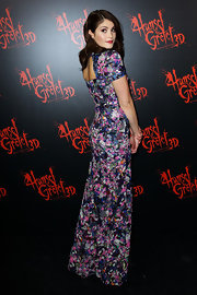 Gemma Arterton was a blooming beauty in this long floral gown at the 'Hansel & Gretel' Australian premiere.