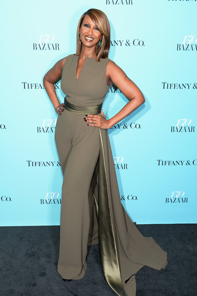 Iman was all about easy glamour in a taupe Brandon Maxwell jumpsuit with a satin-lined train at the Harper's Bazaar 150th anniversary party.