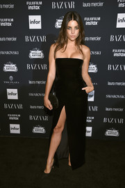 Julia Restoin-Roitfeld went the minimalist route in a strapless black velvet dress by Alexandre Vauthier Couture at the Harper's Bazaar Icons event.
