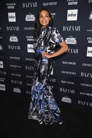 Rosario Dawson hit the Harper's Bazaar Icons event wearing an abstract-print mermaid gown.