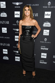 Carine Roitfeld rocked a strapless Tom Ford dress with a croc-embossed bodice at the Harper's Bazaar Icons event.
