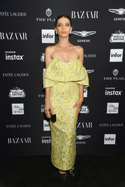 Angela Sarafyan was a glamorous ray of sunshine in a yellow off-the-shoulder gown by Lela Rose at the 2018 Harper's Bazaar Icons event.
