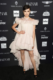 Sofia Carson was boudoir-glam in a pale pink Giambattista Valli dress with a ruffled high-low hem at the 2018 Harper's Bazaar Icons event.