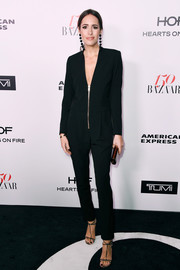 Louise Roe opted for a simple yet sophisticated black zip-front jumpsuit when she attended the Harper's Bazaar 150 Most Fashionable Women celebration.