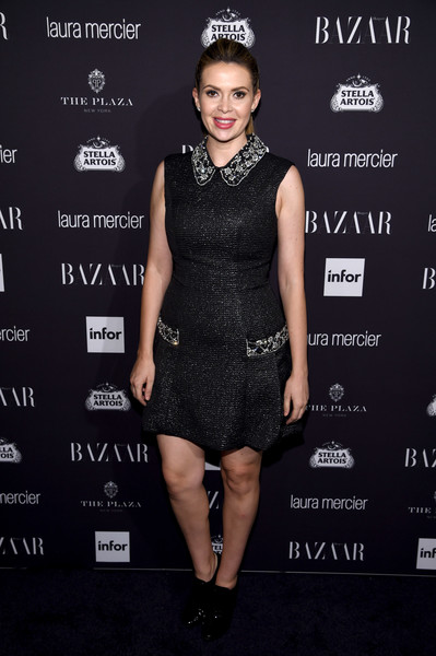 Carly Steel chose a sleeveless tweed LBD with a bedazzled collar and mock pockets for her Harper's Bazaar Icons look.