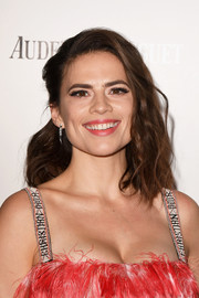 Hayley Atwell styled her hair into a subtly wavy, half-pinned 'do for the Harper's Bazaar Women of the Year Awards.
