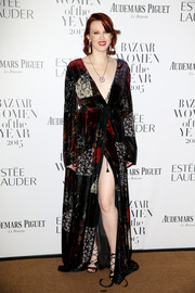 Karen Elson looked opulent in a patchwork velvet wrap gown at the Harper's Bazaar Women of the Year Awards.