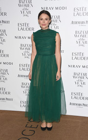 Keira Knightley kept it ladylike in a green chiffon fit-and-flare dress by Rochas at the Harper's Bazaar Women of the Year Awards.