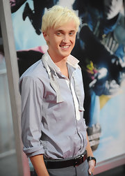 Tom Felton looked sharp at the Half-Blood Prince premiere, wearing a black leather belt and matching watchband.