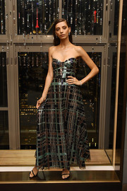 Angela Sarafyan looked dynamite in a strapless Fabiana Milazzo gown with metallic plaid detailing at the unveiling of the Harry Winston New York Collection.