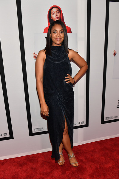 Regina Hall opted for a draped black dress by Camilla and Marc when she attended the Atlanta screening of 'The Hate U Give.'