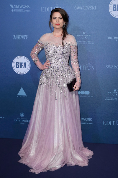Hayley Atwell Box Clutch [dress,clothing,shoulder,gown,fashion,fashion model,haute couture,hairstyle,a-line,beauty,red carpet arrivals,hayley atwell,british independent film awards,london,england,old billingsgate]