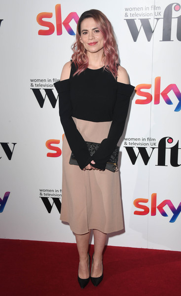 Hayley Atwell Midi Dress [women in film tv awards,women in film and tv awards,hayley attwell,clothing,dress,shoulder,premiere,carpet,red carpet,joint,fashion,cocktail dress,footwear,london hilton,england]