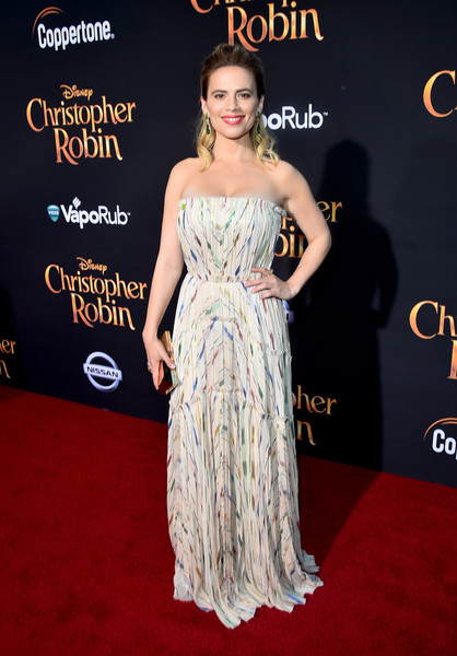 Hayley Atwell Strapless Dress [dress,clothing,shoulder,premiere,strapless dress,carpet,red carpet,hairstyle,gown,fashion,hayley atwell,christopher robin,lot,main theater,ca,burbank,disney,walt disney studios,world premiere,world premiere]