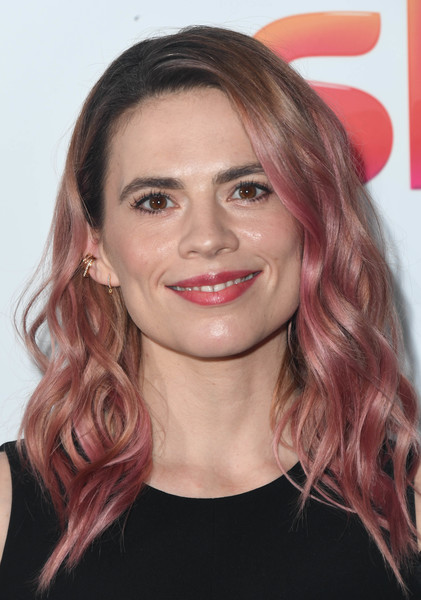 Hayley Atwell Ombre Hair [women in film tv awards,women in film and tv awards,hayley attwell,hair,face,hairstyle,eyebrow,lip,blond,chin,hair coloring,brown hair,long hair,london hilton,england]