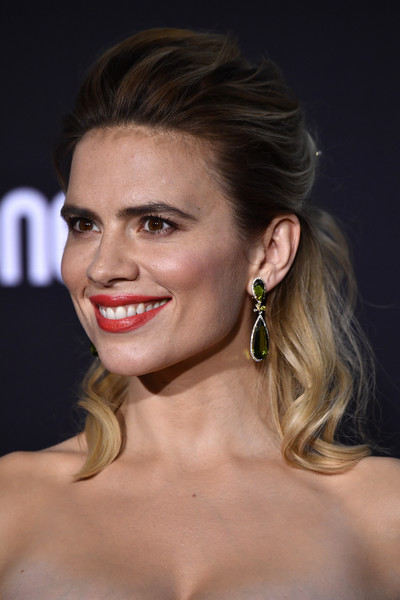 Hayley Atwell Half Up Half Down [hair,face,eyebrow,hairstyle,lip,facial expression,chin,blond,skin,beauty,arrivals,christopher robin,hayley atwell,california,burbank,disney,walt disney studios,premiere]