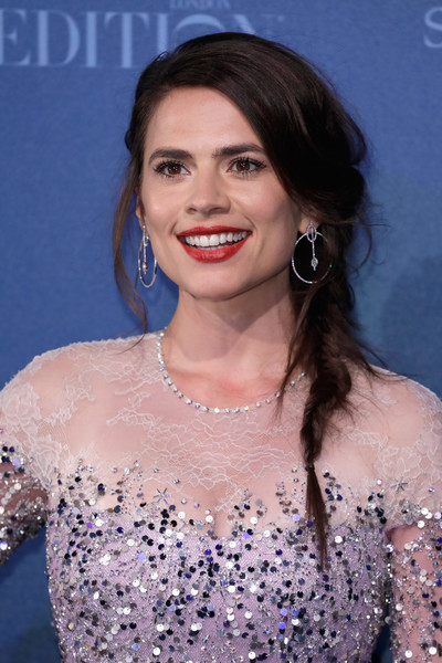 Hayley Atwell Loose Braid [hair,hairstyle,eyebrow,lip,beauty,premiere,chin,shoulder,long hair,dress,red carpet arrivals,hayley atwell,british independent film awards,london,england,old billingsgate]